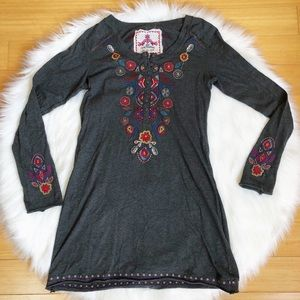 Johnny Was Floral Embroidered Gray Tunic Dress🌺 S